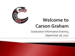 Welcome to Carson Graham Graduation Information Evening September