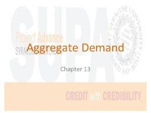 Aggregate Demand Chapter 13 Consumption C Consumption The