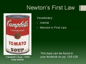 Newtons First Law Vocabulary Inertia Newtons First Law