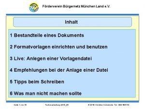 Frderverein Brgernetz Mnchen Land e V Inhalt 1