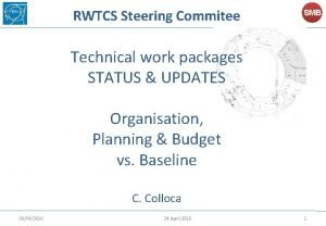 RWTCS Steering Commitee SMB Technical work packages STATUS