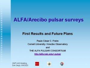 ALFAArecibo pulsar surveys First Results and Future Plans