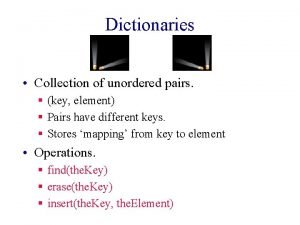 Dictionaries Collection of unordered pairs key element Pairs