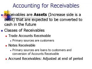 Accounting for Receivables n n Receivables are Assets