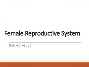 Female Reproductive System SEC 4 2 PG 112