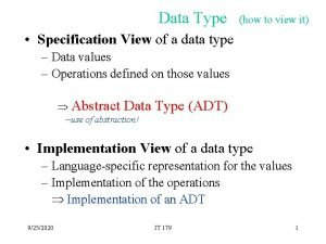 Data Type how to view it Specification View