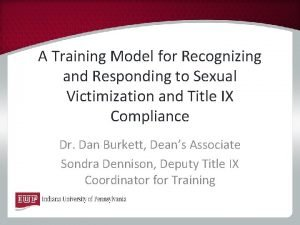 A Training Model for Recognizing and Responding to