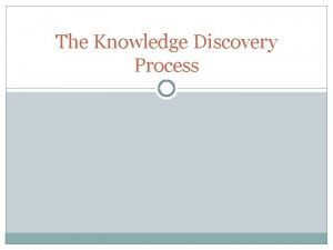 The Knowledge Discovery Process DATA MINING Data Mining