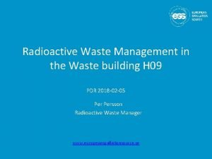 Radioactive Waste Management in the Waste building H