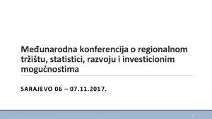 Meunarodna konferencija o regionalnom tritu statistici razvoju i