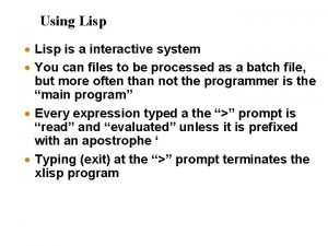 Using Lisp Lisp is a interactive system You