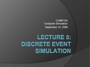 COMP 155 Computer Simulation September 10 2008 LECTURE