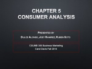 CHAPTER 5 CONSUMER ANALYSIS PRESENTED BY DULCE ALONSO
