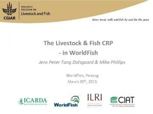 The Livestock Fish CRP in World Fish Jens