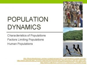 POPULATION DYNAMICS Characteristics of Populations Factors Limiting Populations