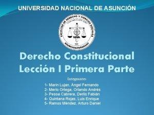 UNIVERSIDAD NACIONAL DE ASUNCIN Derecho Constitucional Leccin I