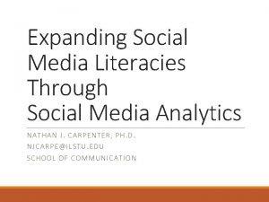 Expanding Social Media Literacies Through Social Media Analytics
