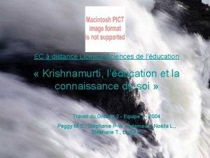 EC distance Licence Sciences de lducation Krishnamurti lducation