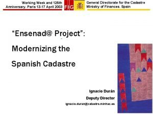 General Directorate for the Cadastre Ministry of Finances