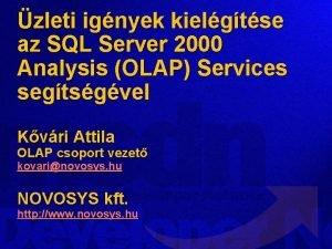 zleti ignyek kielgtse az SQL Server 2000 Analysis