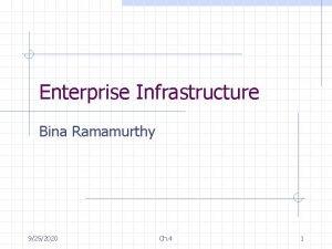 Enterprise Infrastructure Bina Ramamurthy 9252020 Ch 4 1