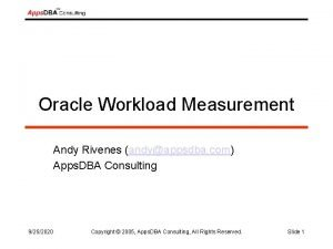 Oracle Workload Measurement Andy Rivenes andyappsdba com Apps