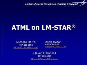 Lockheed Martin Simulation Training Support ATML on Michelle