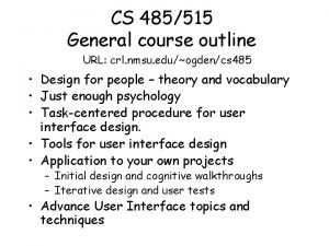 CS 485515 General course outline URL crl nmsu