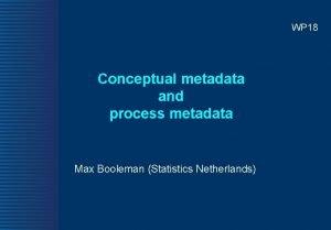 WP 18 Conceptual metadata and process metadata Max