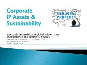 Corporate IP Assets Sustainability Law and sustainability in
