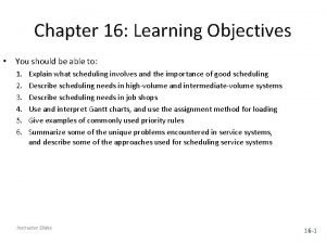 Chapter 16 Learning Objectives You should be able