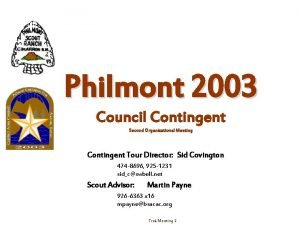 Philmont 2003 Council Contingent Second Organizational Meeting Contingent