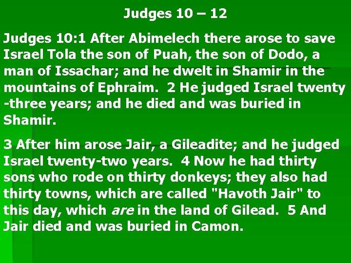 Judges 10 12 Judges 10 1 After Abimelech