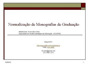 Normalizao de Monografias de Graduao Bibliotecria Iris da