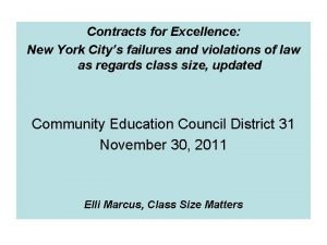 Contracts for Excellence New York Citys failures and