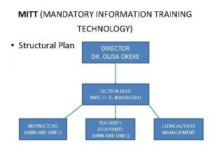 MITT MANDATORY INFORMATION TRAINING TECHNOLOGY Structural Plan DIRECTOR