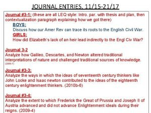 JOURNAL ENTRIES 1115 2117 Journal 3 1 these