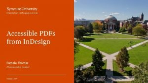 Information Technology Services Accessible PDFs from In Design