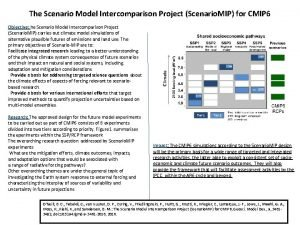 The Scenario Model Intercomparison Project Scenario MIP for