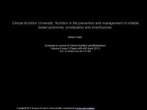Clinical Nutrition University Nutrition in the prevention and
