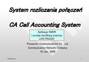 System rozliczania pocze CA Call Accounting System Aplikacja
