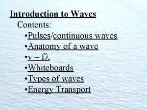 Introduction to Waves Contents Pulsescontinuous waves Anatomy of