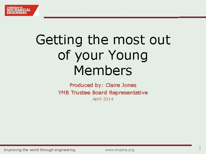 Getting the most out of your Young Members