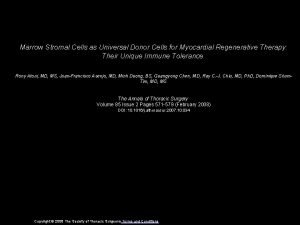Marrow Stromal Cells as Universal Donor Cells for