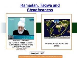 Ramadan Taqwa and Steadfastness Sermon Delivered by Hadhrat