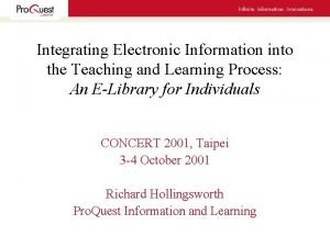 Integrating Electronic Information into the Teaching and Learning