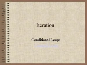 Iteration Conditional Loops Counted Loops Charting the Flow