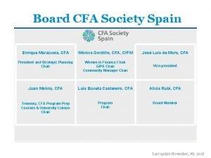 Board CFA Society Spain Enrique Marazuela CFA Mnica