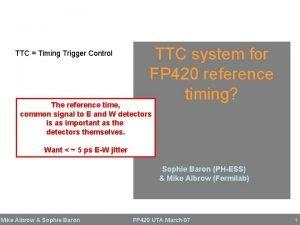 TTC Timing Trigger Control TTC system for FP