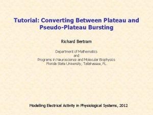 Tutorial Converting Between Plateau and PseudoPlateau Bursting Richard